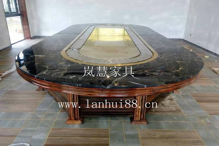 高級會所專用天然大理石輸送帶旋轉餐桌